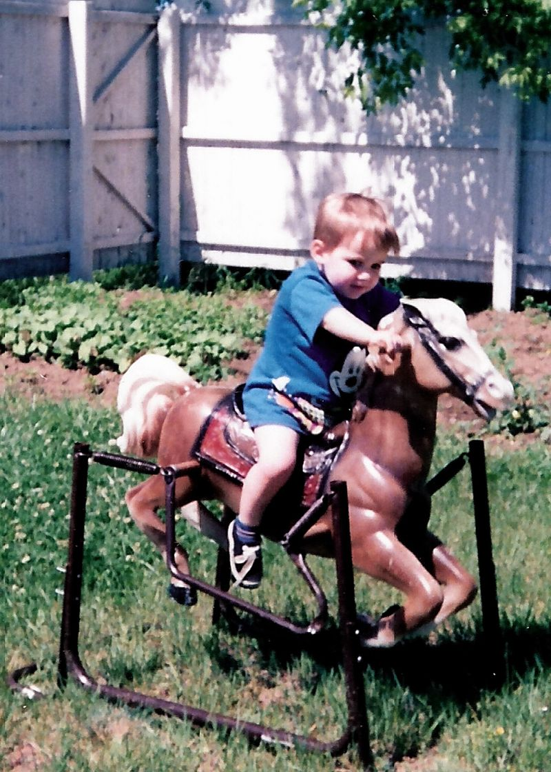 Nathan on his horse, jack, vt