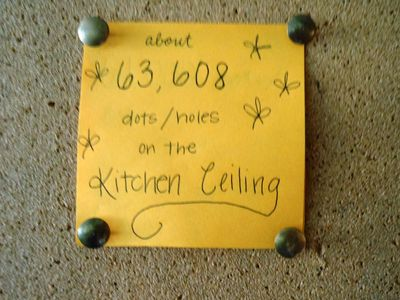 Calculation of the number of dots on the kitchen ceiling... haha