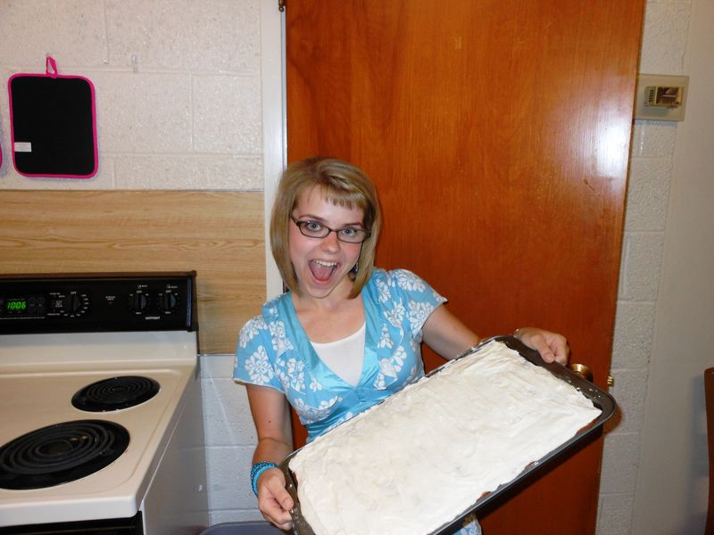 We made banana bars... and they were finished at 10.06 in the night!