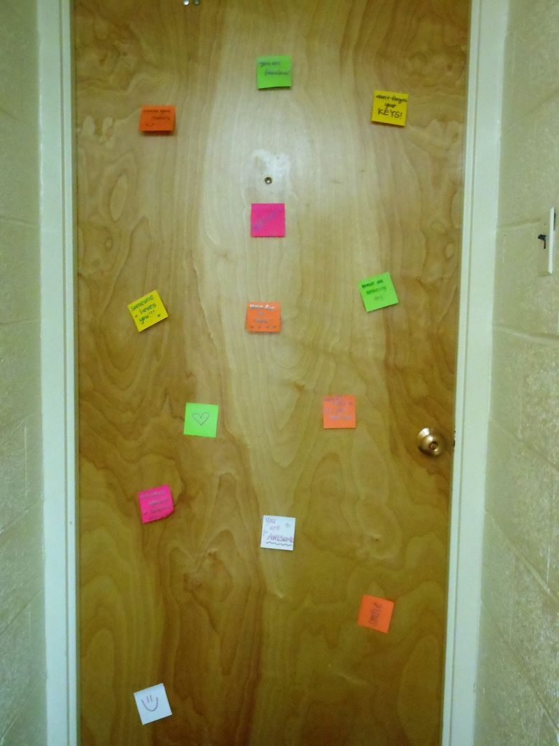 Reminders on our dorm door