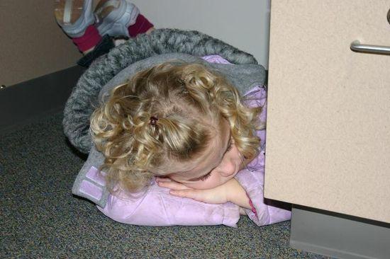 Meg asleep under my desk