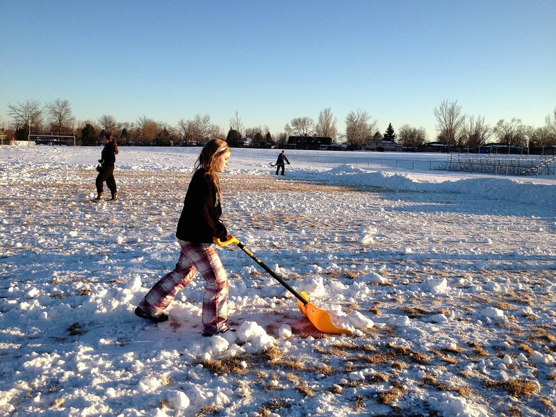 Meg clearing the field for tryouts