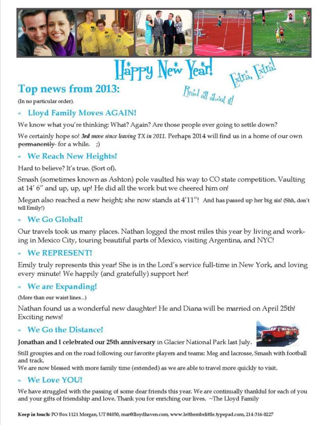 2013 family letter